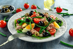 Fresh Tuna Green Bean salad with eggs, tomatoes, beans, olives on white plate. concept healthy food Royalty Free Stock Images