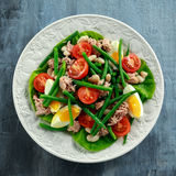 Fresh Tuna Green Bean salad with eggs, tomatoes, beans on white plate. concept healthy food Royalty Free Stock Image