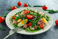 Fresh Tuna Green Bean salad with eggs, tomatoes, beans on white plate. concept healthy food Stock Photos