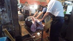 Fresh Tuna main cut by professional Japanese tuna handler stock footage