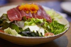 Fresh tuna salad mixed vegetables, Tuna sashimi salad. stock images