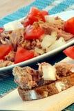 Fresh tuna salad with organic tomato Stock Image
