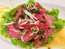 Fresh Tuna Salad. Is a yummy and spicy menu in Japanese Stock Photography