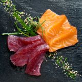 Fresh tuna and salmon sashimi. Royalty Free Stock Images