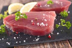 Fresh tuna steak. Close up on fresh tuna steak Stock Images