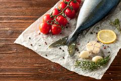 Fresh tuna tail with vegetables. Fresh tuna tail with tomatoes, lemon, garlic, herbs and spices on wooden background Stock Image