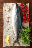 Fresh tuna with tomatoes, oil and spices. Top view of whole fresh tuna fish with tomatoes, garlic, herbs and spices on wooden background Stock Images