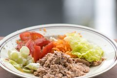 Fresh tuna and vegetables salad. On white background Royalty Free Stock Photo