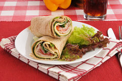 Fresh turkey and cheese wraps Stock Photo