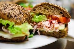 Fresh turkey ham and avocado sandwich Stock Photography