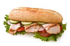 Fresh turkey sandwich on white royalty free stock photography