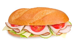 Fresh turkey submarine sandwic Royalty Free Stock Photography