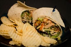 Turkey wrap with ripple chips royalty free stock image