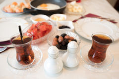 Fresh Turkish Breakfast on Table Royalty Free Stock Photos