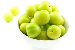 Fresh turkish can erik plum fruits in a small white bowl. Composition of fresh turkish can erik plum fruits in a small white bowl royalty free stock photo