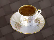 Fresh Turkish coffee. Turkish coffee full filled in a porcelain cup seen from above on textured background Royalty Free Stock Photos
