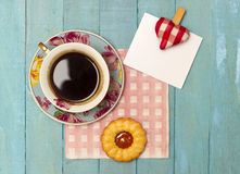 Fresh Turkish Coffee and biscuit with a Note Stock Image