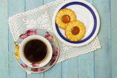 Fresh Turkish Coffee with Biscuits Royalty Free Stock Image