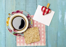 Fresh Turkish Coffee and Rice Galette with a Note Royalty Free Stock Photography