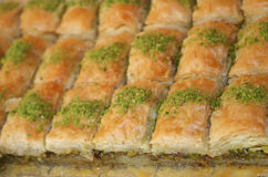 Caloric Turkish Cake Baclava. Fresh Turkish (or Greek) cake baclava, also known as baklava royalty free stock photography