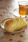 Fresh Turkish kadayif and tea Stock Image