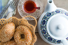Fresh Turkish sesame bagels for teatime Royalty Free Stock Images
