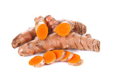 Fresh turmeric, curcuma roots on white background Royalty Free Stock Photos