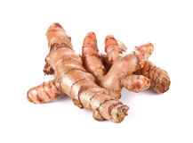 Fresh turmeric, curcuma roots on white background Stock Photo
