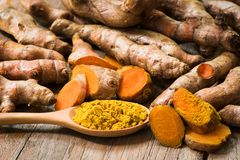 Fresh turmeric roots with turmeric powder on wooden spoon Stock Photography