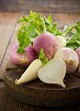 Fresh turnip and white radish. On the wooden table Stock Image