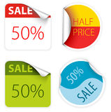 Fresh two colors sale labels Royalty Free Stock Images