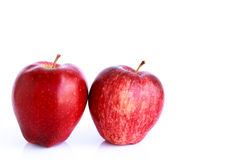 Fresh two red apples isolated Stock Photo