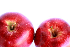 Fresh two red apples isolated Stock Photos