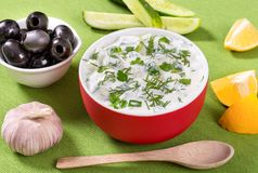 Fresh tzatziki  in a red bowl and ingredients, view from the height of a seated man Royalty Free Stock Photo