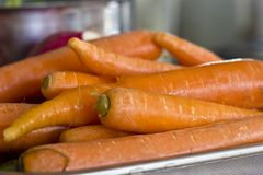 Fresh unclean whole carrot close-up. Selective focus. Fresh unclean whole carrots close-up. Selective focus Royalty Free Stock Images