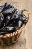 Fresh and uncleaned mussels in a wicker basket. On wooden table Stock Image
