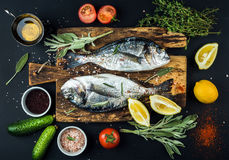 Fresh uncooked dorado or sea bream fish with lemon, herbs, oil, vegetables and spices on rustic wooden board over black. Backdrop, top view Stock Photos