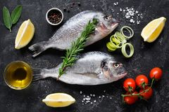 Fresh uncooked dorado or sea bream fish with lemon slices, spices, herbs and vegetables. Mediterranean food. Top view. Fresh uncooked dorado or sea bream fish Stock Images