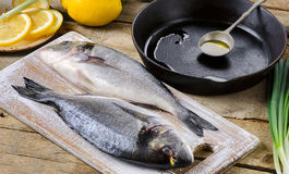 Fresh uncooked dorado or sea bream on rustic wooden board. Stock Photo