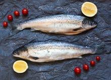 Fresh uncooked fish on black background with tomatoes, lemon, to Royalty Free Stock Image