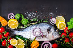Fresh uncooked fish, dorado, sea bream with lemon, herbs, vegetables and spices on rustic background. Top view. Fresh uncooked fish, dorado, sea bream with Stock Photography