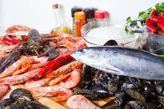 Fresh uncooked marine products and  seasonings. At cooking table Stock Image