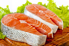 Fresh uncooked Pacific Coast Salmon Royalty Free Stock Images