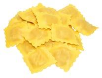 Fresh Uncooked Ravioli Pasta. Fresh uncooked Italian ravioli pasta, isolated on a white background Stock Photography