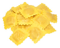 Fresh Uncooked Ravioli Pasta. Fresh uncooked Italian ravioli pasta, isolated on a white background Stock Images