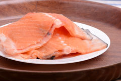 Fresh uncooked red fish fillet slices Stock Image