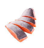 Fresh uncooked red fish fillet slices. Isolated on a white background Royalty Free Stock Photo