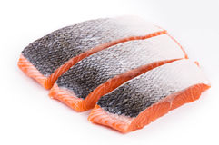 Fresh uncooked red fish fillet slices. Royalty Free Stock Image