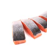 Fresh uncooked red fish fillet slices. Whole background Stock Photo