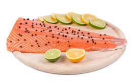 Fresh uncooked red fish fillet Stock Photos